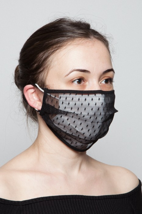 Fashion Mask - Nokta Desen Tül Maske