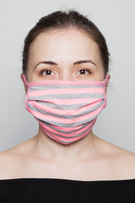 Fashion Mask - Gri Çizgili Pembe Maske